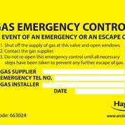 Gas Emergency Control Labels (Pack of 10)