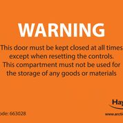 WARNING Keep Door Closed Label (Pack of 10)