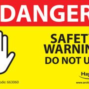 DANGER SAFETY WARNING DO NOT USE (Pack of 10)