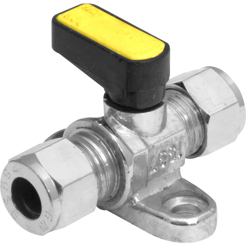 Angled Mini Ball Valves c/w Wall Plate